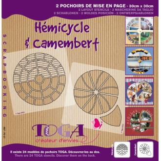 Pochoir scrapbooking de mise en page Hémicycle et camembert - 2 pochoirs