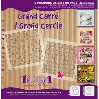 Pochoir scrapbooking de mise en page Grand cercle et grand carré - 2 pochoirs