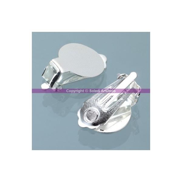 Lot de 5 paires de Clip boucle d'oreilles argenté, avec platine, 13 mm - Photo n°1
