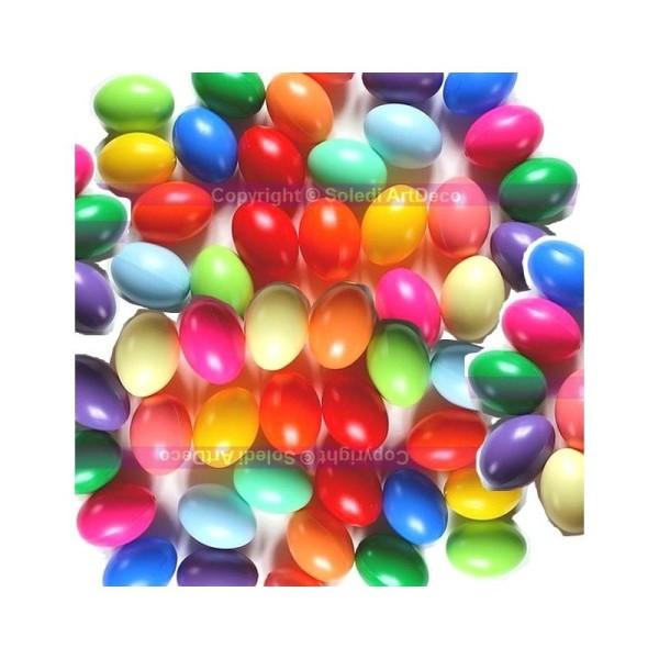 Gros lot de 50 Oeufs en plastique, coloris assortis, 6,5 cm de haut, idéal pour la chasse aux - Photo n°1