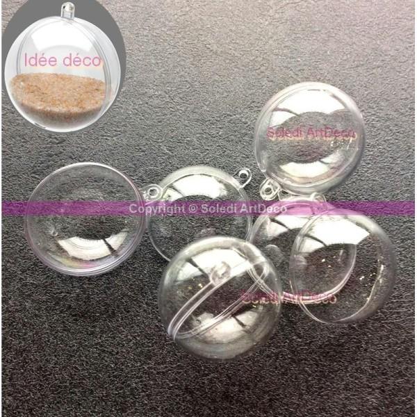 Lot de 10 petites Boules en plastique cristal transparent séparable, Contenant sécable - Photo n°1