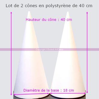 Lot  2 Cônes en polystyrène Hauteur 40 cm, Présentoir à macarons, Diam&eg