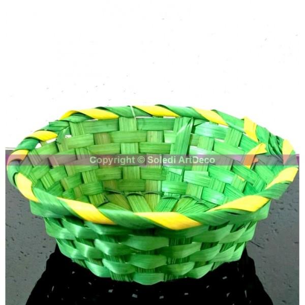 Corbeille en bambou tressé Vert et liseré jaune, pour décoration de pâques, Panier à garnir de Diam. - Photo n°1
