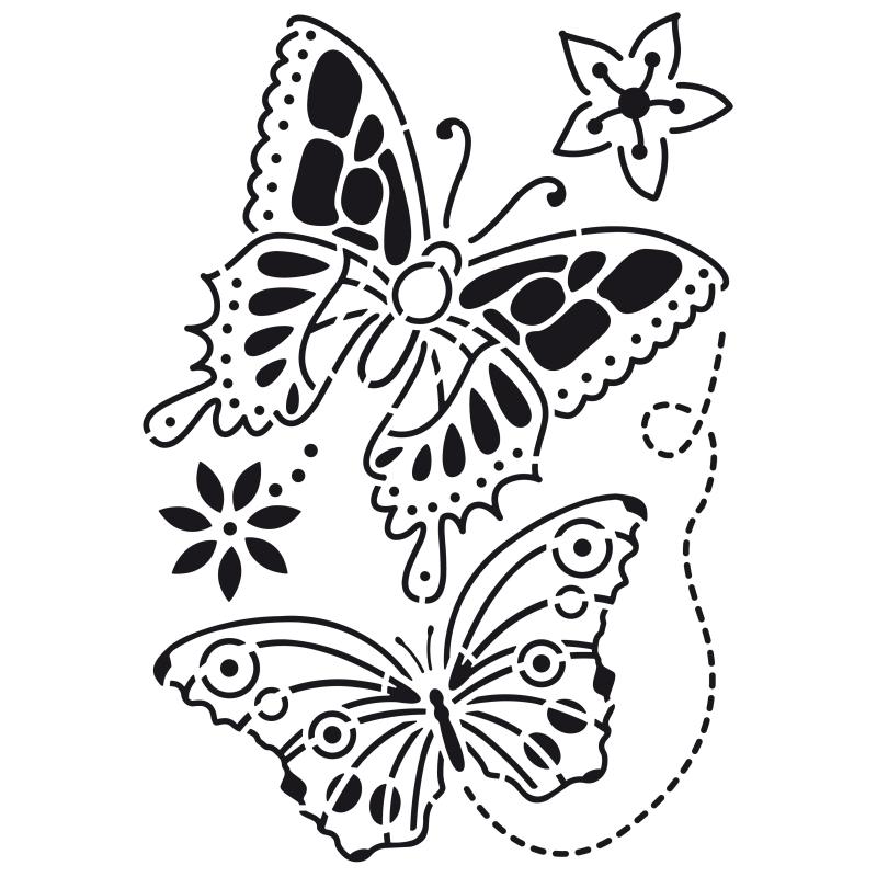 Pochoir en plastique motif 2 grands papillons et 2 fleurs for Miroir en plastique