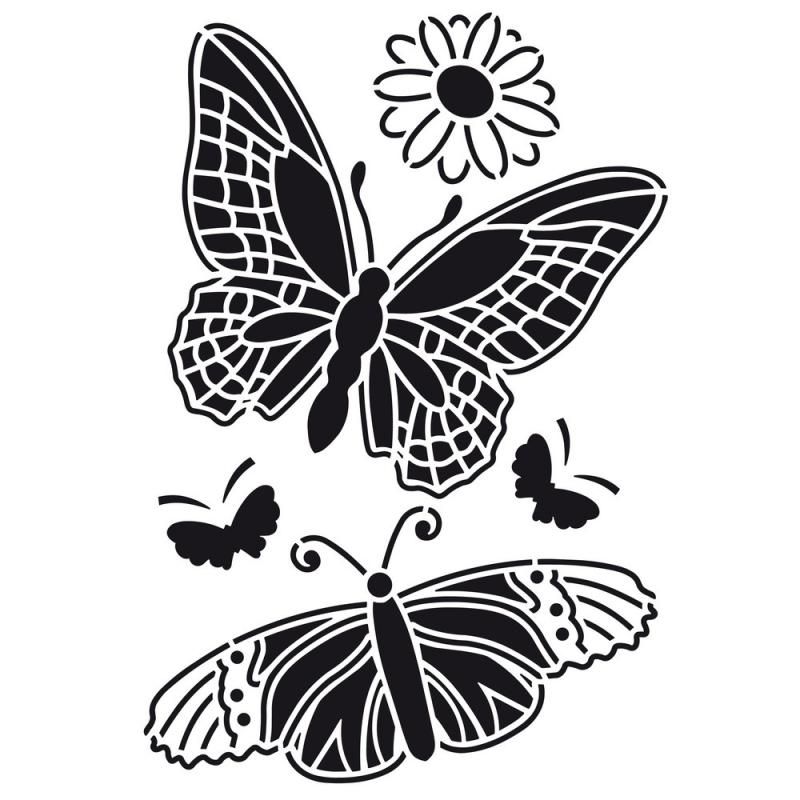 Pochoir en plastique motif 2 grands papillons 2 petits for Miroir en plastique
