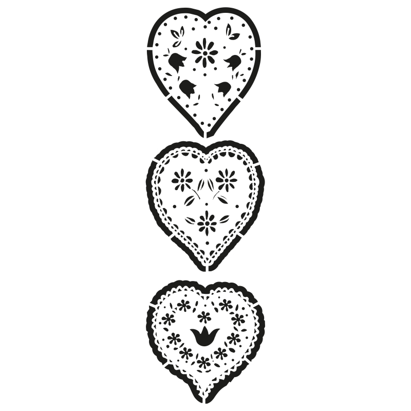 pochoir en plastique de 3 motifs coeurs largeur 8 5cm