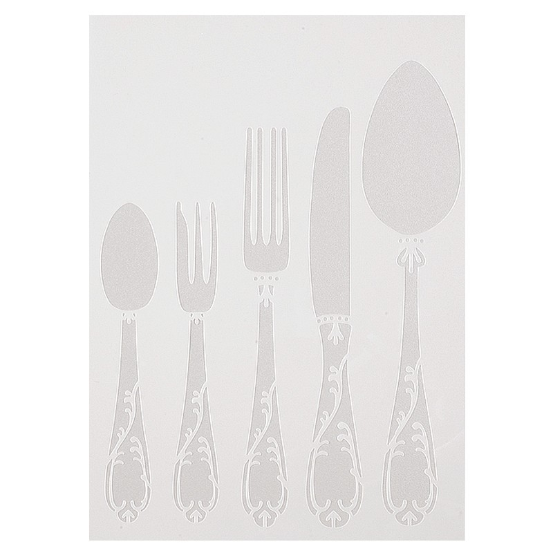 Pochoir en plastique de motif couverts baroque cuill re for Miroir en plastique