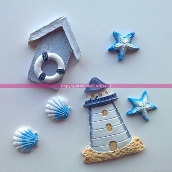 Lot de 6 Petits objets déco marin en résine à la plage, Phare, Cabanon, Coquill - Photo n°1