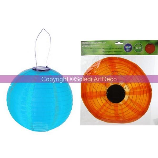 Petit Lampion Boule LED Solaire, Lanterne en Organza Turquoise, diam. 20 cm, avec suspension, pour e - Photo n°1
