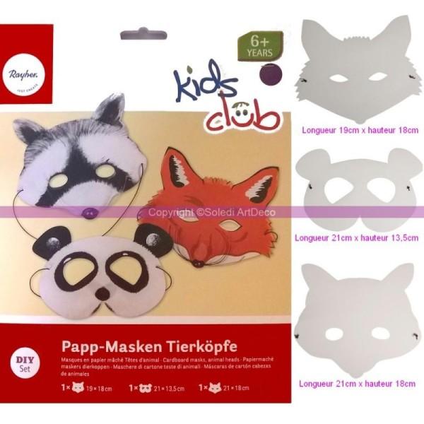 Lot de 3 Masques Tête Animal en papier mâché avec élastique à custo - Photo n°1