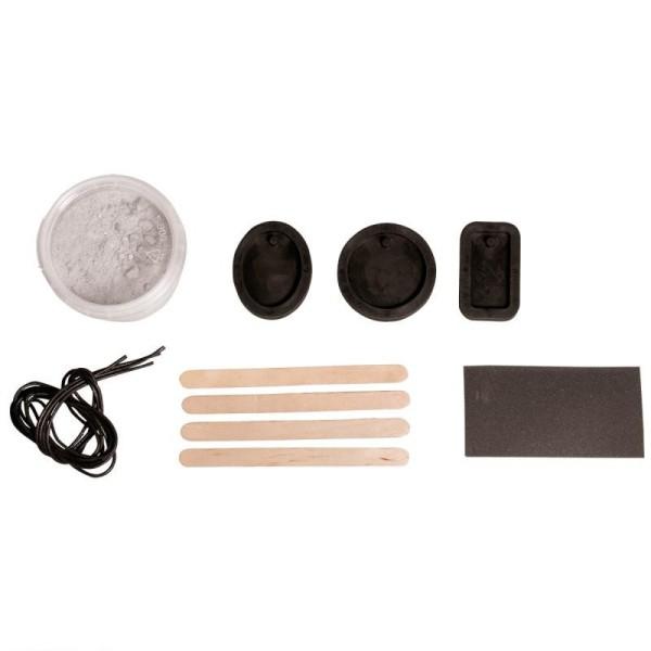 Kit pour débutants bijoux en béton créatif, 150g de béton, 3 moules et lanière cuir - Photo n°4