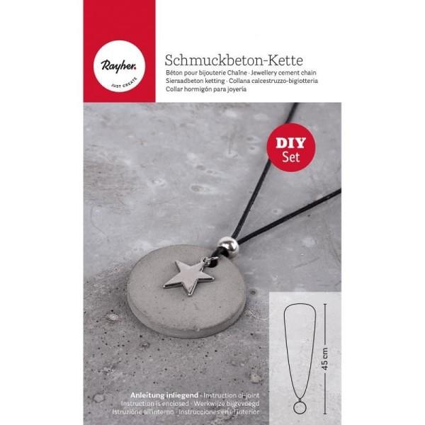 Kit de réalisation de bijoux en béton créatif, 50g de béton, 1 moule, lanière cuir et breloque étoil - Photo n°1