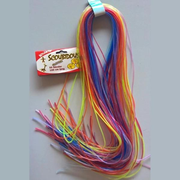 50 brins de fils de scoubidous pailletés, Couleurs multicolores à paillettes, 1m&egrav - Photo n°1