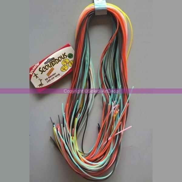 50 brins de fils de scoubidous Néon, Couleurs multicolores, 1mètre x 2mm - Photo n°1