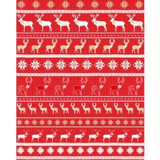Feuille Decopatch n°611, Rangées de Rennes et Cerfs sur fond rouge 30x39 cm