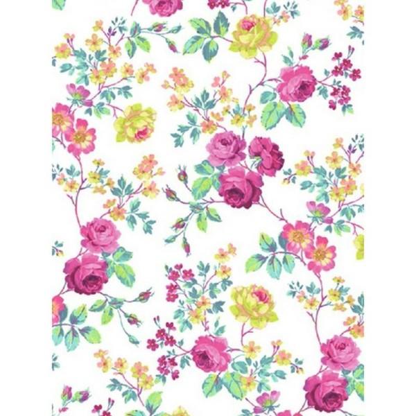 Feuille Decopatch n°718, Fleurs pastels sur fond blanc, Papier 30x39 cm