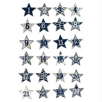 Lot de 24 petites Etoiles chiffres 1-24 diam. 2,5cm avec adhésif en bois peint Bleu-Blanc, po