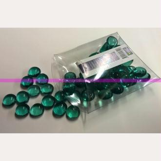 Lot de 200g de Galets Nuggets de verre brillant plein et lisse Vert émeraude bombés, 1