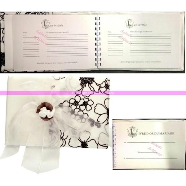 Livre d'Or, Album Photo de Mariage, Décor Fleurs velours chocolat, Grosse Fleur Organza Ivoire, 30 f - Photo n°1