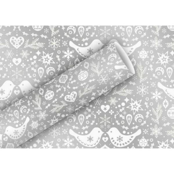 Papier Cadeau Film Aluminium Couple D Oiseaux Avec Flocons De Neige