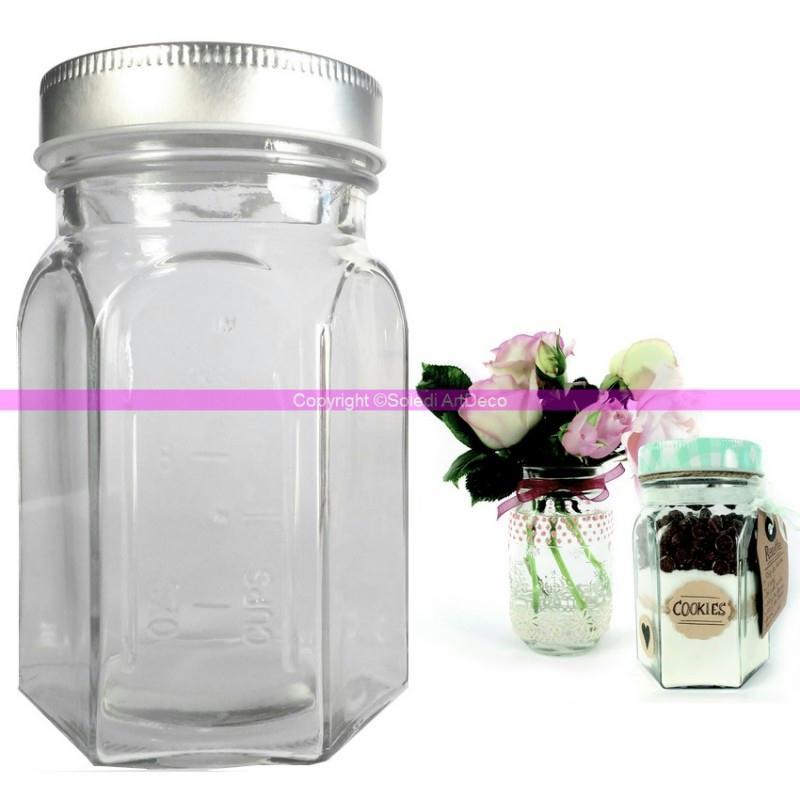 bocal hexagonal en verre avec graduation 8x13cm pot avec couvercle m tal argent agr bocal. Black Bedroom Furniture Sets. Home Design Ideas
