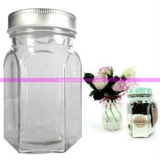 bocal arabesque en verre 8x13cm pot avec couvercle m tal argent visser mas bocal mason. Black Bedroom Furniture Sets. Home Design Ideas