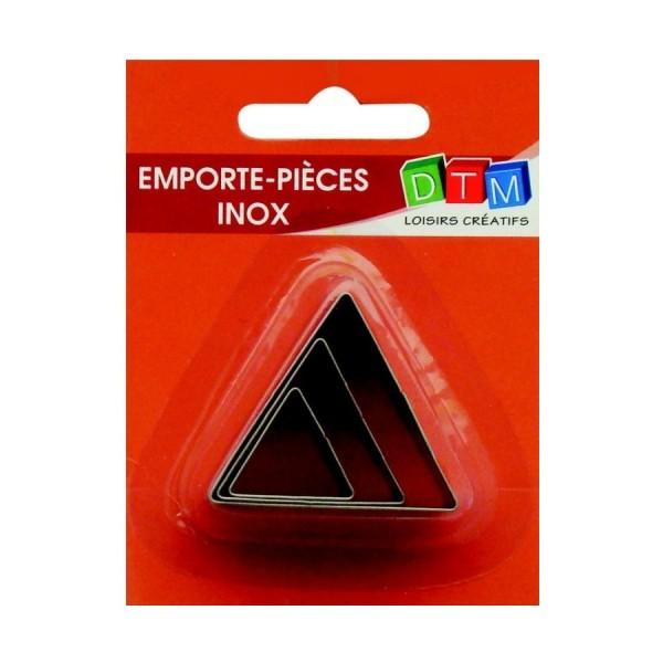 Lot de 3 minis emporte-pièces Triangles en Inox alimentaire, coté 2,3,4 cm - Photo n°1