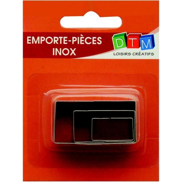 Lot de 3 minis emporte-pièces Rectangles en Inox alimentaire, coté 2,3,4 cm - Photo n°1