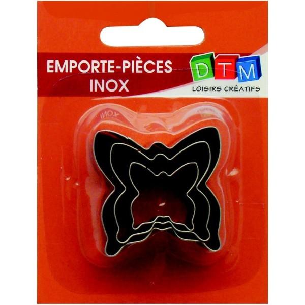 Lot de 3 minis emporte-pièces Papillons en Inox alimentaire, Diamètre  2,3,4 cm - Photo n°1