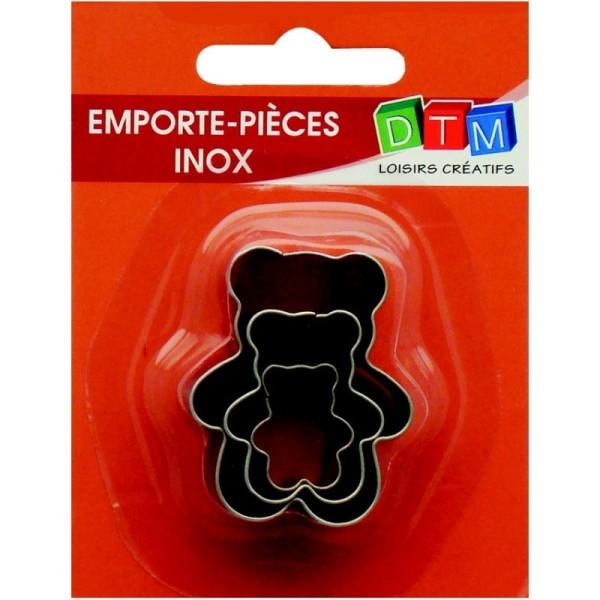 Lot de 3 minis emporte-pièces Oursons en Inox alimentaire, Tailles des Teddy bear 2,3,4 cm - Photo n°1
