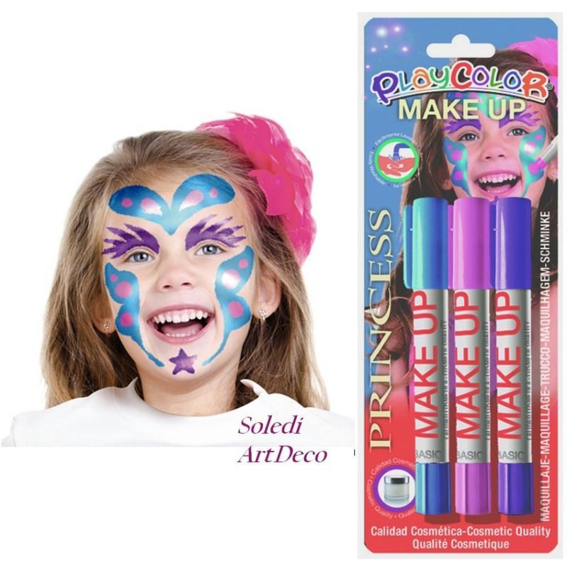 lot de 3 sticks de maquillage rose violet bleu clair marqueurs th me princesse qualit eac. Black Bedroom Furniture Sets. Home Design Ideas