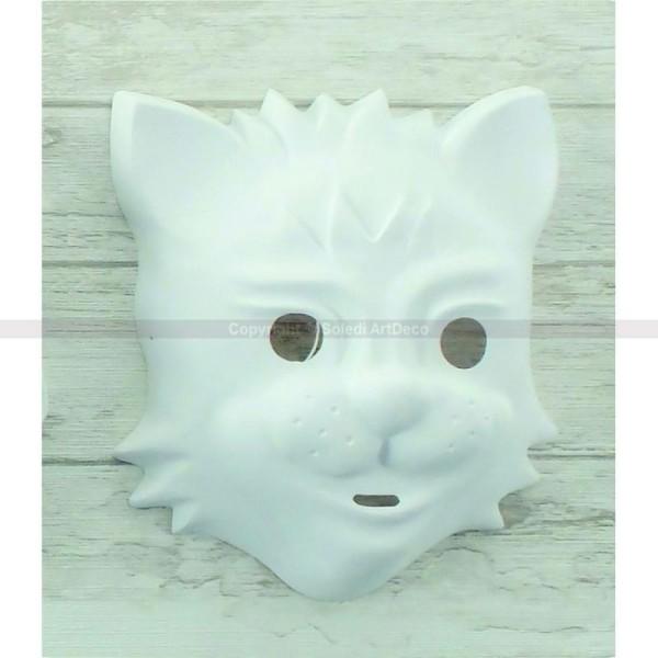 Masque Chat en plastique blanc, pour Carnaval ou Anniversaire Enfant, Taille 15cm env., à d&e - Photo n°1