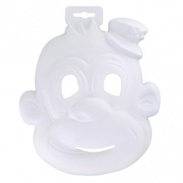Masque Singe de Cirque en plastique blanc, pour Carnaval ou Anniversaire Enfant, Taille 21cm, &agrav - Photo n°1