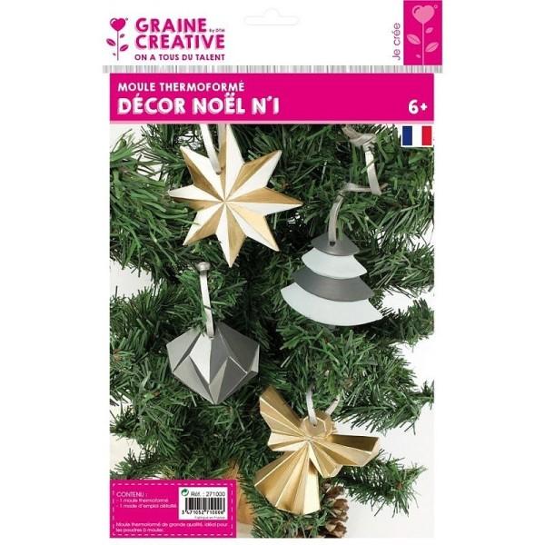 Moule thermoformé 4 motifs Noël, Etoile, Diamant, Ange et Sapin de noël moderne, hauteur des modèles - Photo n°2
