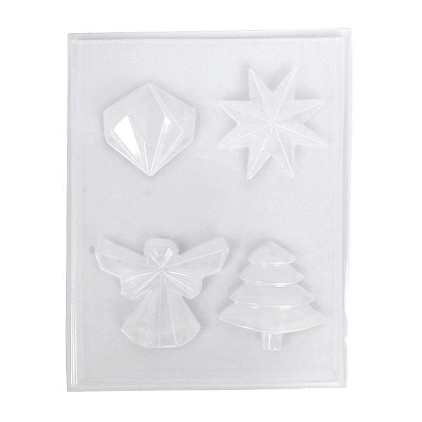 Moule thermoformé 4 motifs Noël, Etoile, Diamant, Ange et Sapin de noël moderne, hauteur des modèles - Photo n°1
