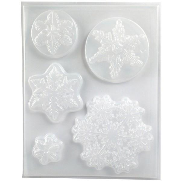 Moule thermoformé motifs Hiver, 5 modèles de flocons de neige, hauteur des cristaux de glace 3,5-10c - Photo n°2