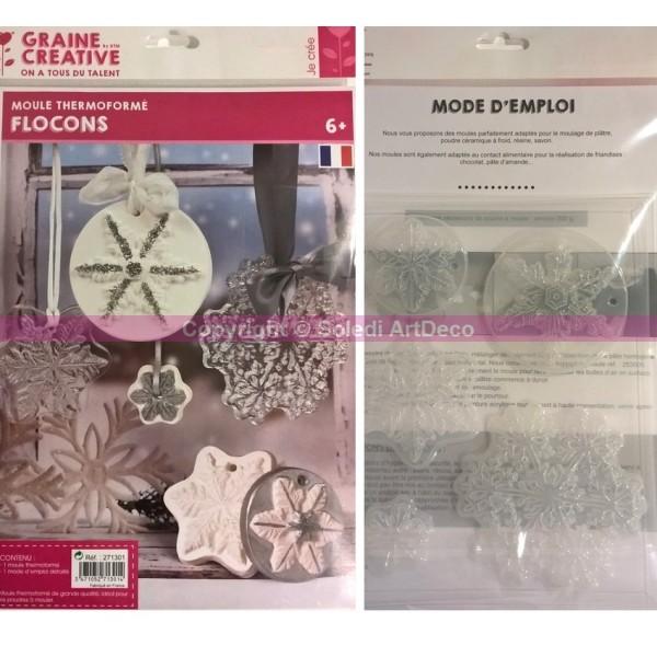 Moule thermoformé motifs Hiver, 5 modèles de flocons de neige, hauteur des cristaux de glace 3,5-10c - Photo n°3