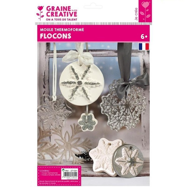 Moule thermoformé motifs Hiver, 5 modèles de flocons de neige, hauteur des cristaux de glace 3,5-10c - Photo n°1