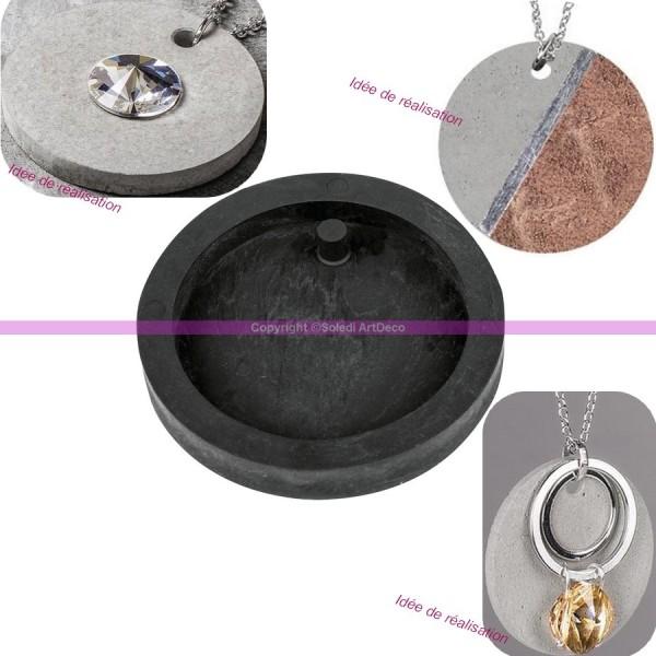 Moule à bijoux rond pour béton, Pendentif en caoutchouc flexible, diam. 3,9 cm, remplissage 7 mm - Photo n°2