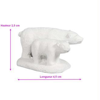 Figurine en résine Ours blanc, Hauteur 2,5cmx4,5cm, avec dots adhésifs pour DIY Boule