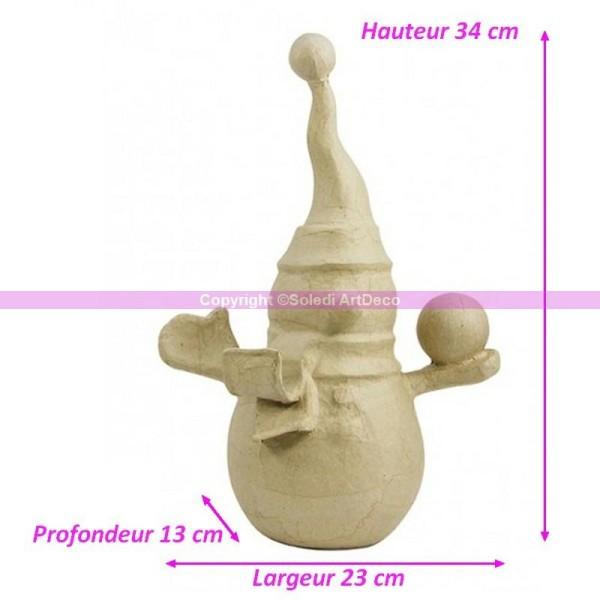 Bonhomme de neige avec bonnet, cache-nez et boule de neige 34cm x 23cm x 13cm, en papier mâch& - Photo n°1
