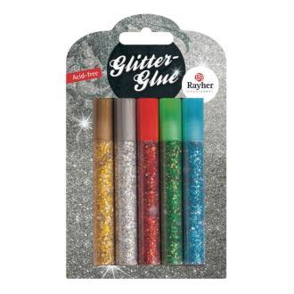 Kit 5 tubes de gels à grosses paillettes, Glitter glue Couleurs basiques, 5x10 ml, pour scrap