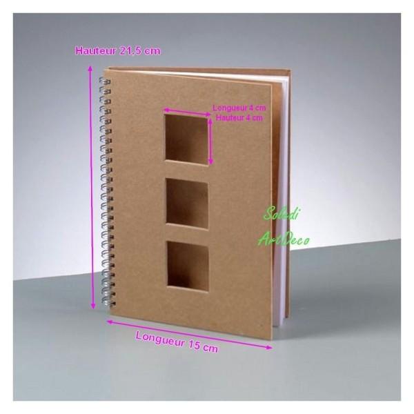 Carnet en carton spiralé avec 3 fenêtres carrées, Calepin 60 feuilles blanches, 21,5x15x1,7cm, à déc - Photo n°1