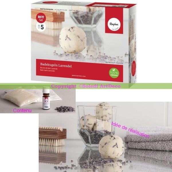 Kit de réalisation Boule de bain Lavande, Coffret DIY pour bain relaxant avec Accessoires, 10 - Photo n°1