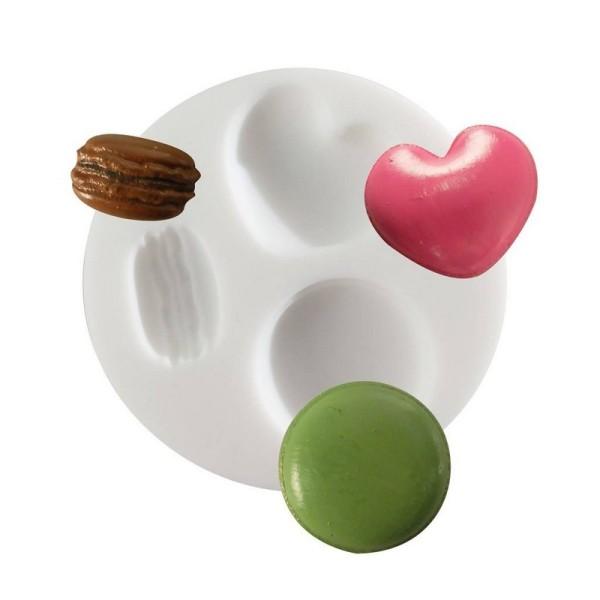 Moule en silicone 3 motifs Macarons et Biscuit Coeur, Rond 7cm extra flexible pour Fimo, Plâtre, Rés - Photo n°1
