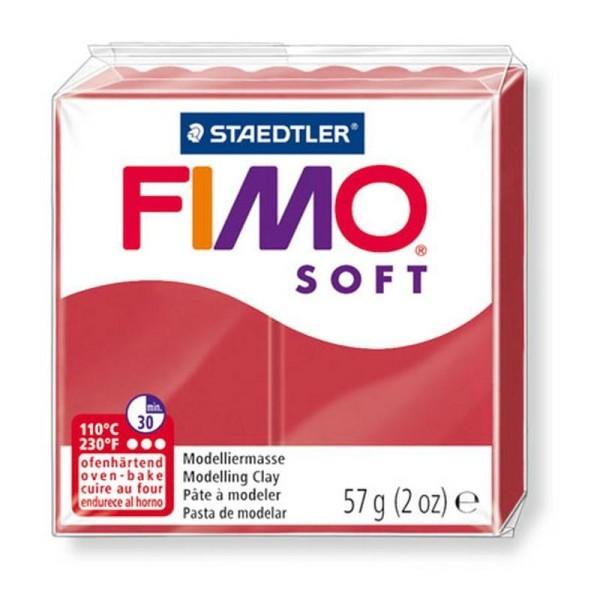 Pâte Fimo soft couleur Rouge Cerise n°26, Pain polymère de 57g à cuire au four - Photo n°1