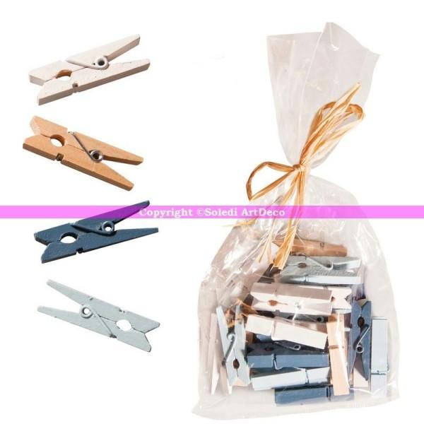 Lot de 24 Minis pinces à linge décoratives en bois naturel et teinté blanc, ble - Photo n°1