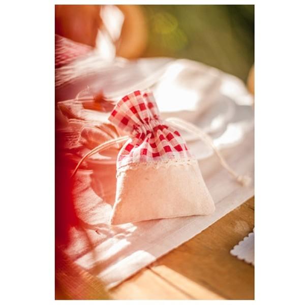 Lot de 5 Pochons en Lin Tissu Vichy carreau rouge, Petit Sac avec cordon de serrage largeur 10cm x h - Photo n°2