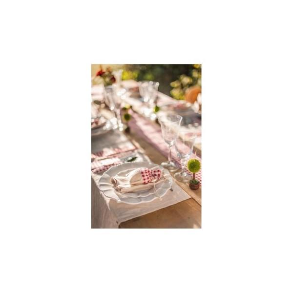 Lot de 5 Pochons en Lin Tissu Vichy carreau rouge, Petit Sac avec cordon de serrage largeur 10cm x h - Photo n°4