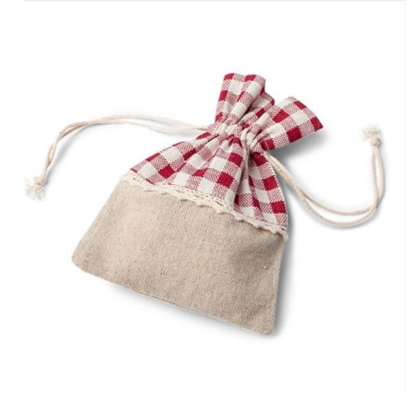 Lot de 5 Pochons en Lin Tissu Vichy carreau rouge, Petit Sac avec cordon de serrage largeur 10cm x h - Photo n°1